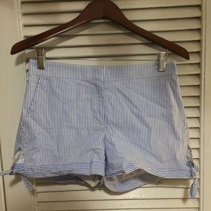 LOFT Seersucker Shorts w/ Tie at sides